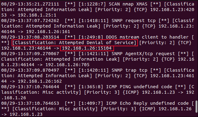 Suspicious and malicious activity detected and flagged by Snort in a terminal window