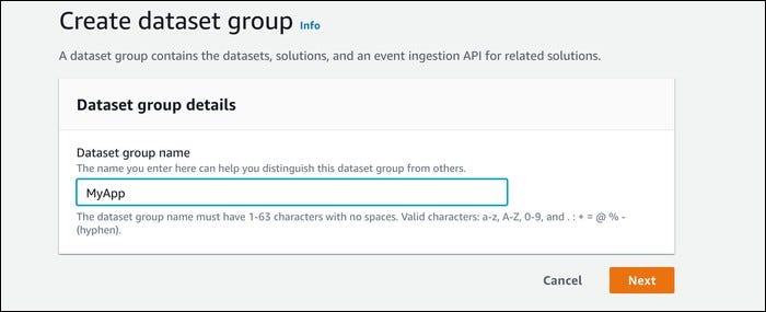 new dataset group