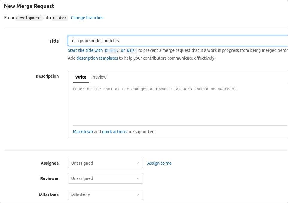Pillanatkép az egyesítési kérelem létrehozásáról a GitLab-ban