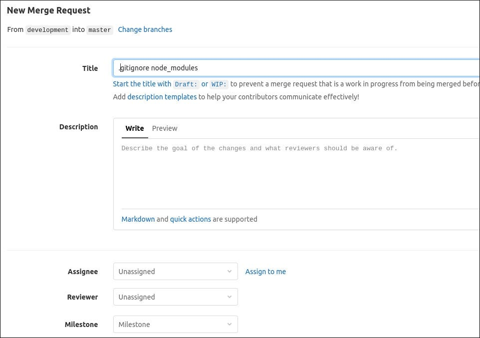 Screenshot of creatng a merge request in GitLab