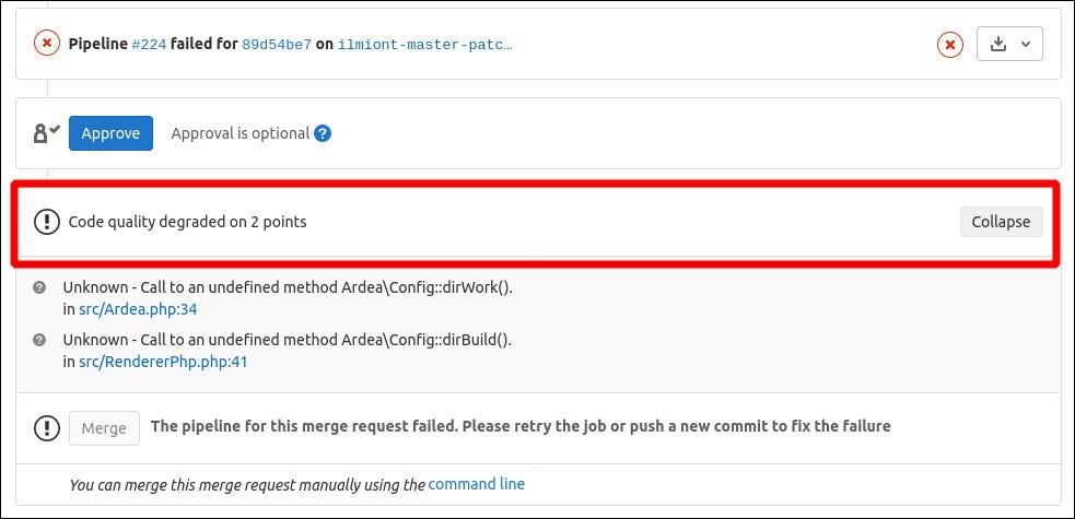 Pillanatkép a GitLab Code Quality Merge Request widgetről