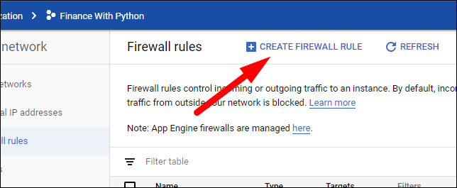 create new firewall rule