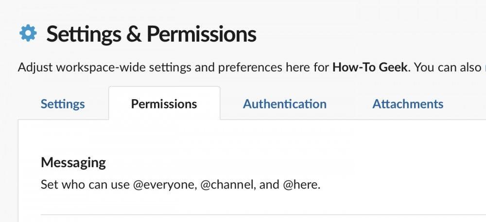 Вкладка Slack Permissions