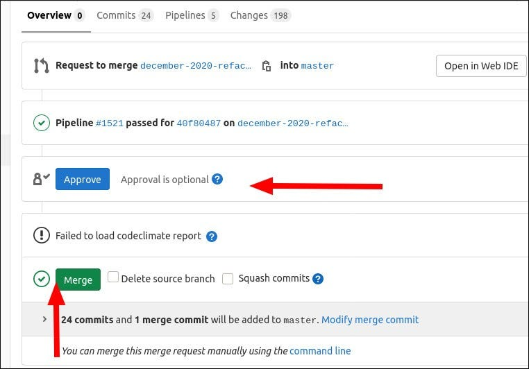 Screenshot of approving and merging a GitLab merge request
