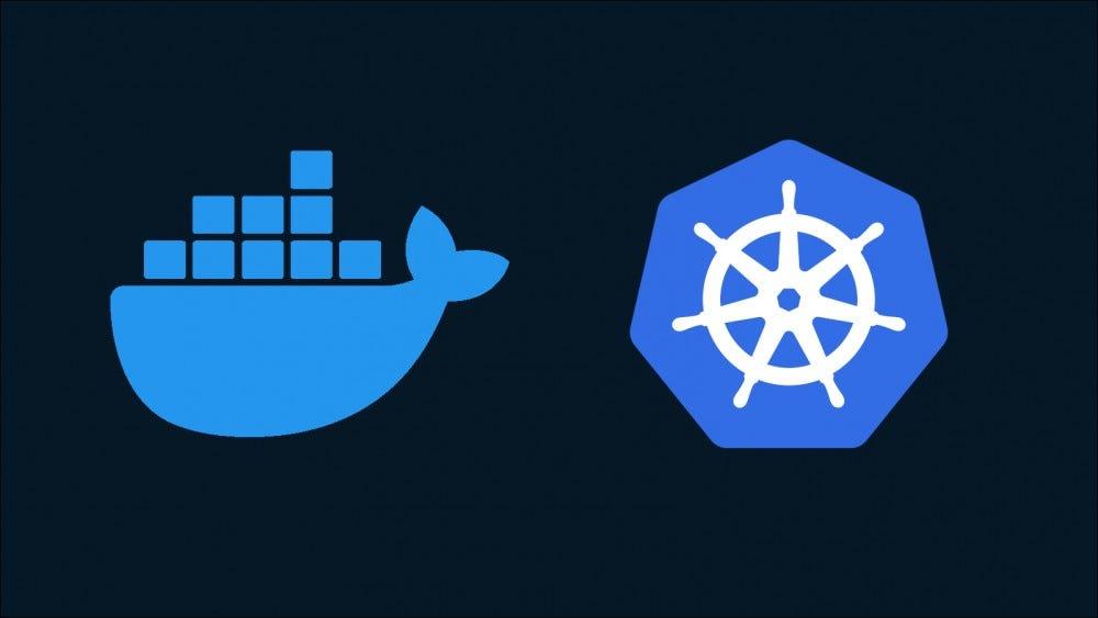 A Docker és a Kubernetes logókat ábrázoló ábra