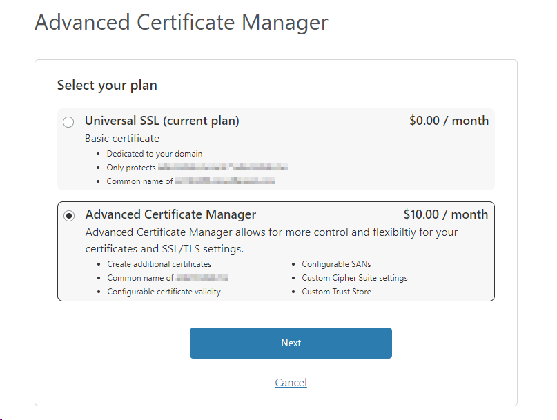 Order Advanced Certificate