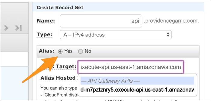 To create a record set, simply select the API from the dropdown list, and click create.