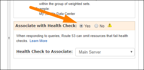 "Click ""Yes"" for ""Associate With Health Check,"" select the health check for server"