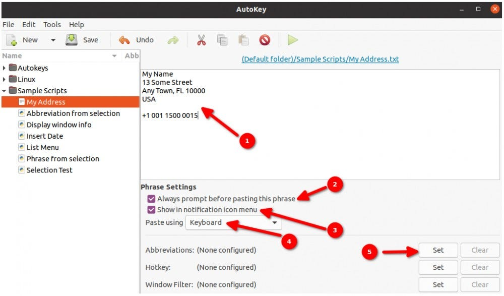 Entering address in Autokey and setting Autokey options