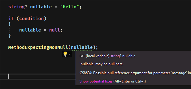 If you convert non-nullable reference types to non-null without checking, you'll get an error.