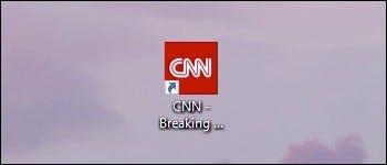 CNN favicon pinned in Windows 10.