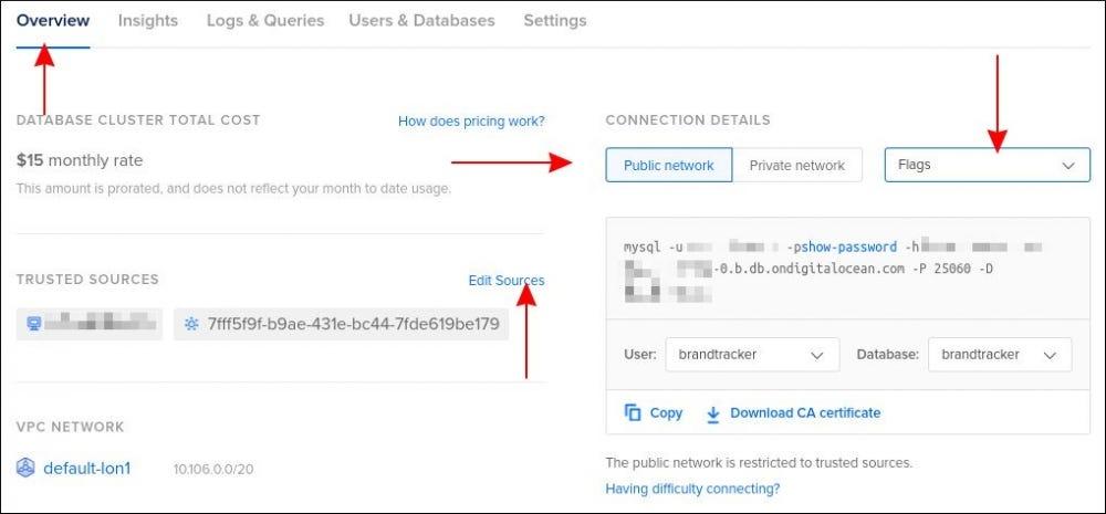 Képernyőkép a DigitalOcean Managed Databases kapcsolat részleteiről