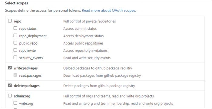 Create a new token with type: package and delete: package settings.