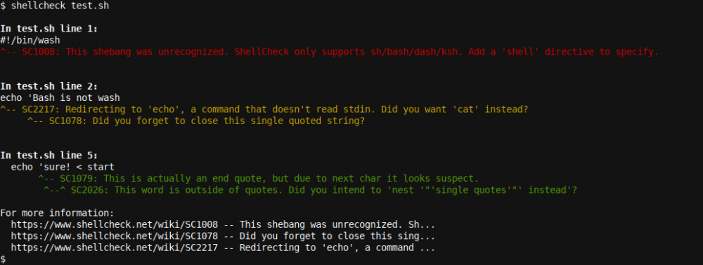 Shellcheck output 1