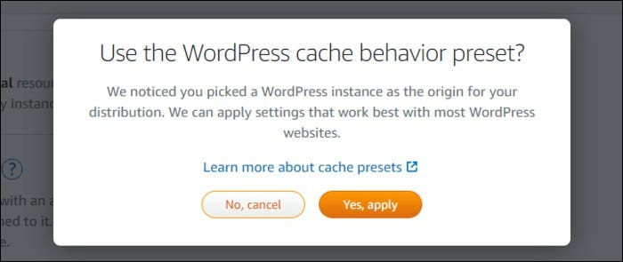 Different preset options for cache behavior.
