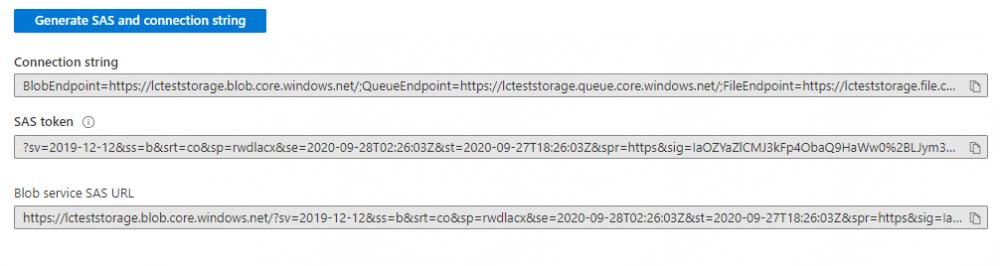Copy the Blob service SAS URL.
