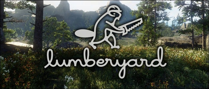 AWS lumberyard logo over lumberyard game