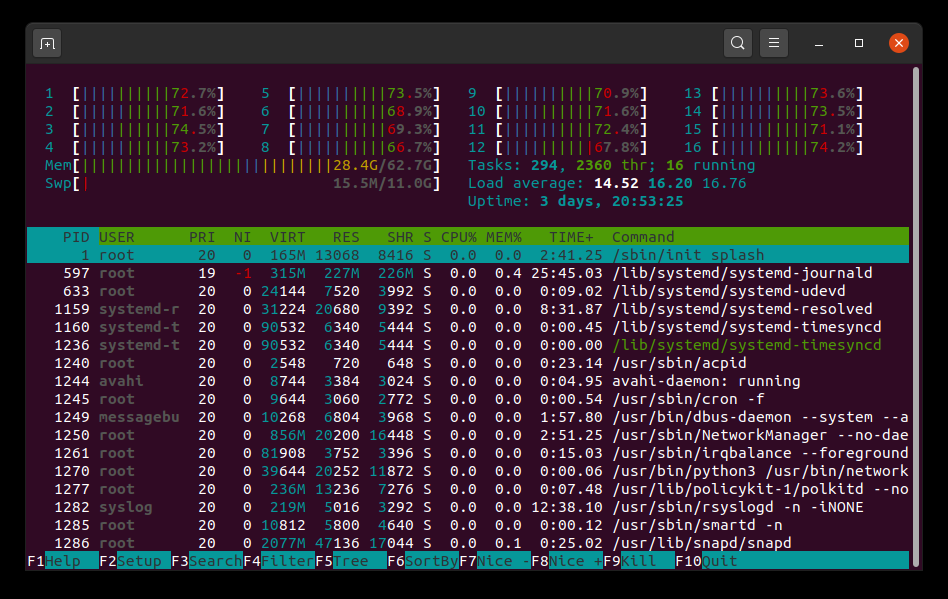 Full htop output
