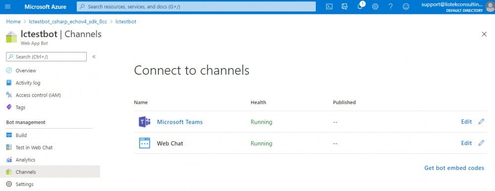 Load up the bot into a Teams client by clicking on the Microsoft Teams link
