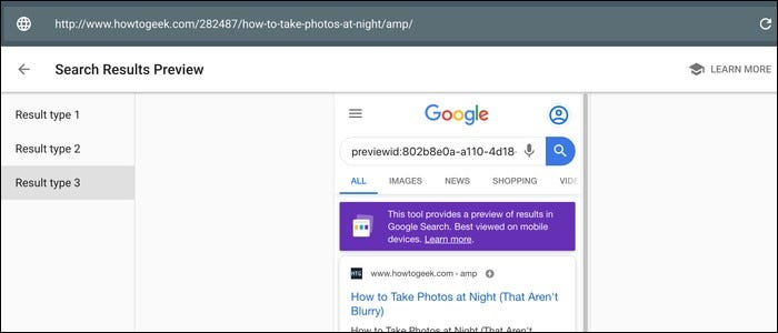 Preview of how your site will appear in search results based on the type of result.