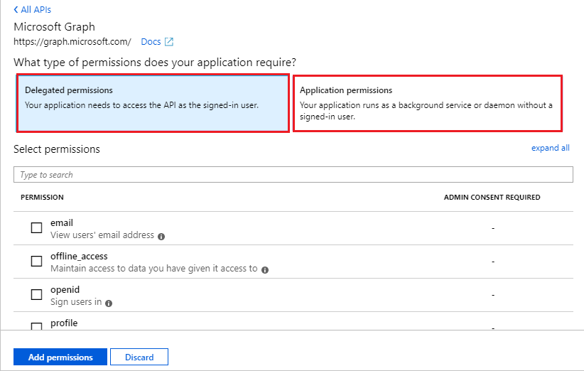 "Access permission path by clicking ""App Registrations,"" opening your application. Navigate to ""API Permissions"" menu, select ""Add A Permission"" optio."