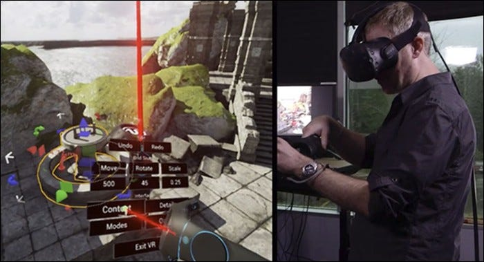A VR headset enables you to build levels with your hands in 3D space.