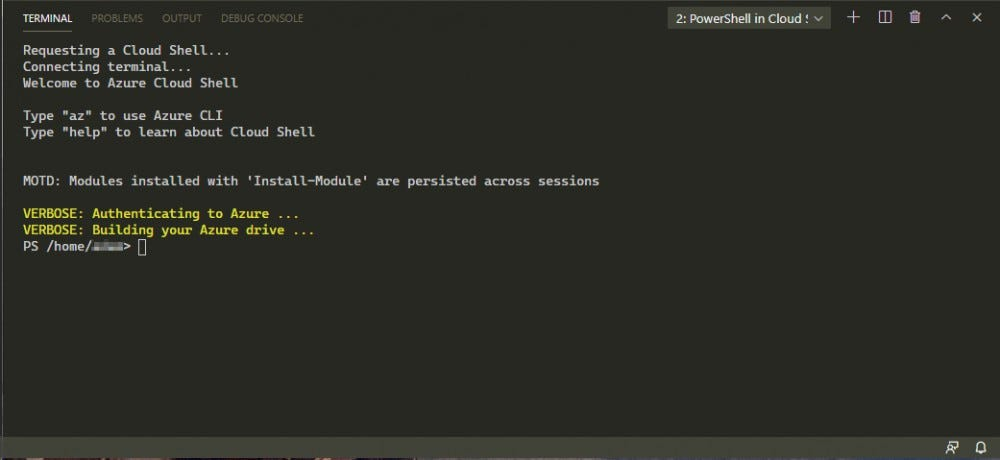 Once you have authenticated, the PowerShell terminal is available to you.