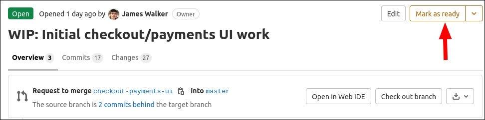 Screenshot of GitLab draft merge request