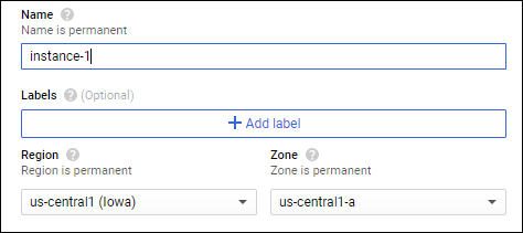 Give the instance a name, then select which region and zone you wish to launch in