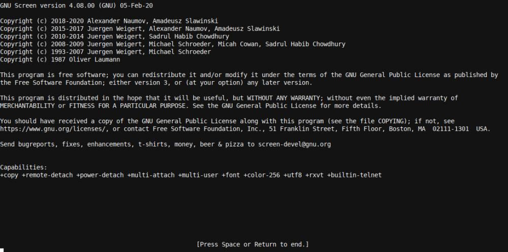 A Linux GNU képernyő splash screen
