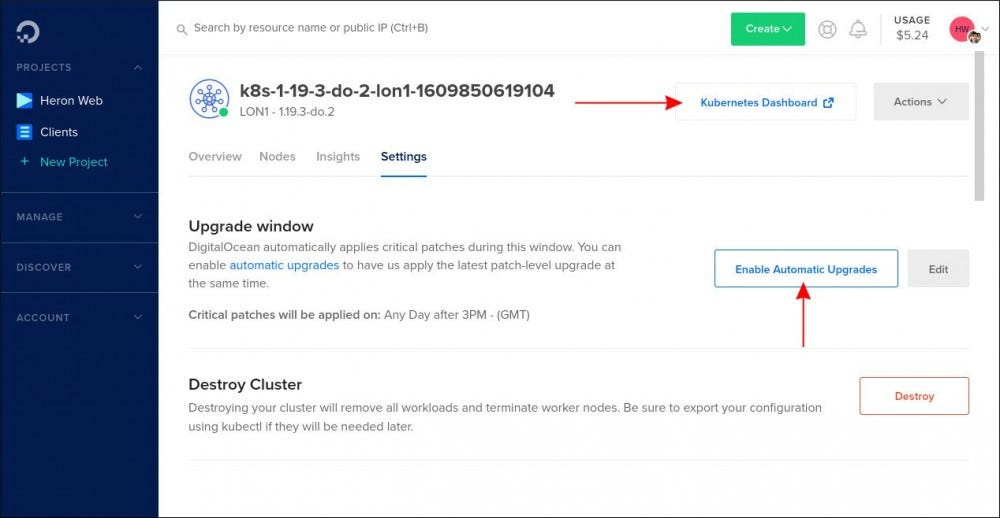 Screenshot of Kubernetes cluster settings screen in DigitalOcean