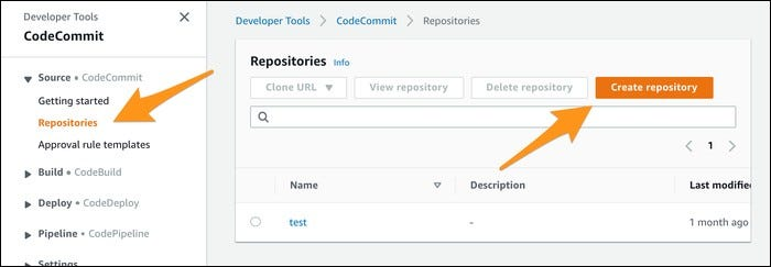 codecommit create repository