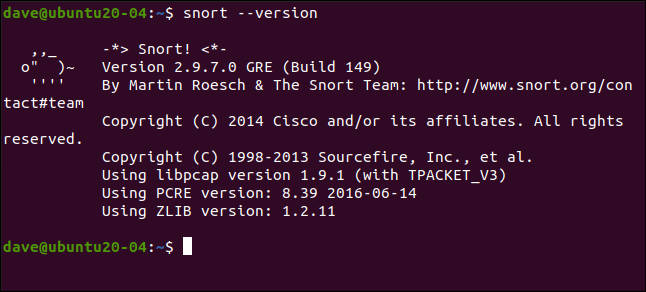 snort --version in a terminal window
