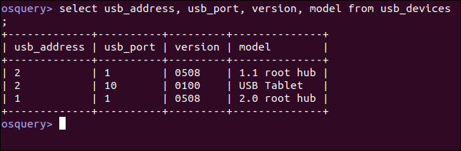 select usb_address, usb_port, version, model from usb_devices; in an osquery interactive session