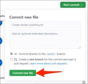 """Click """"Start Commit"""" to push the new file to the repository."""