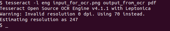 Tesseract PDF output format