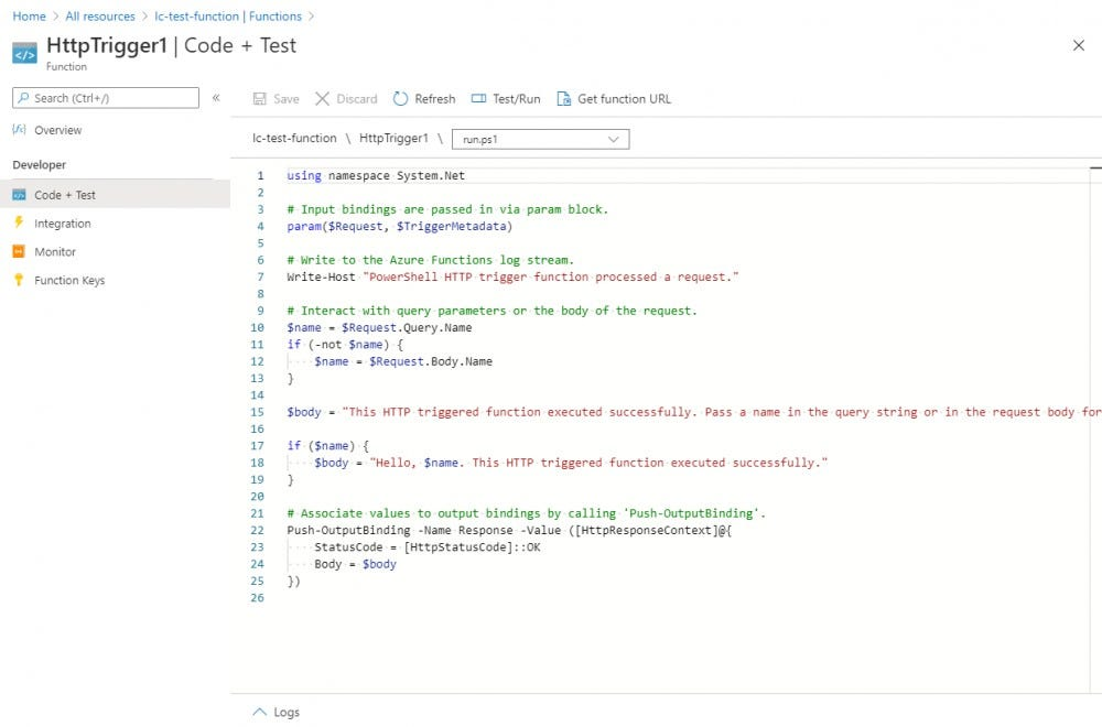"Click on the function HttpTrigger1, then click on the ""Code + Test"" section"