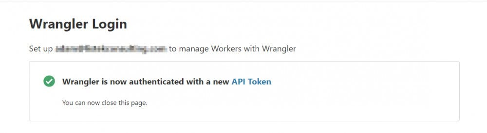 Log in and Wrangler will configure the API token automatically
