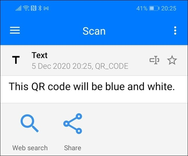 Scan results for a colored QR code