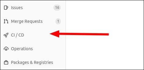 Pipelines menüpont képernyőképe a GitLab-ban