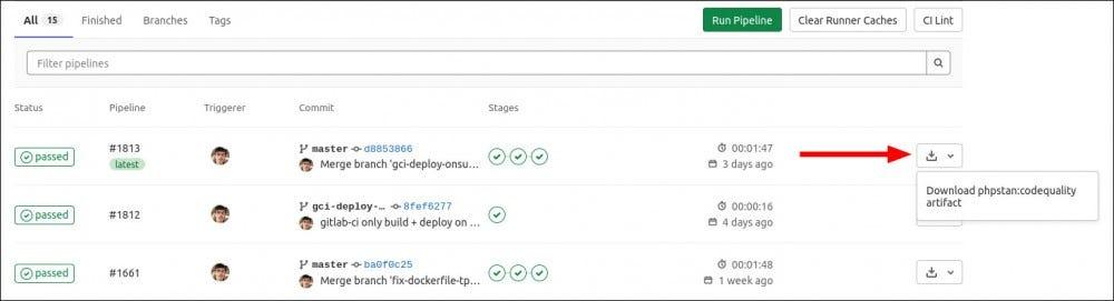 Pillanatkép a PHPStan GitLab CI csővezetékekről