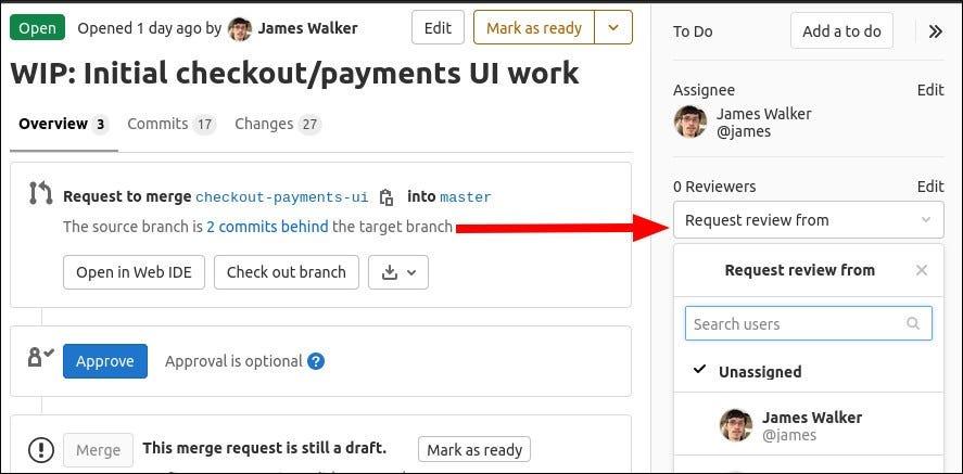 Pillanatkép az egyesítési kérelmek áttekintőiről a GitLab-ban