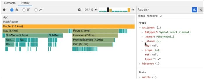 "React Profiler times the rendering of components and helps eliminate poor performance and ""jank"" in applications."