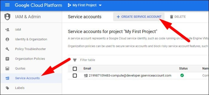 Create a new service account