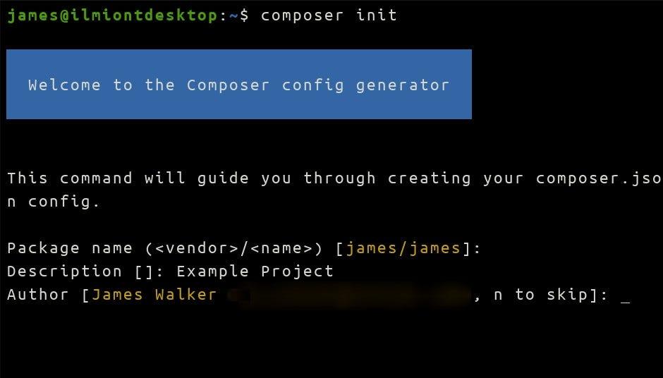 A Composer init parancs képernyőképe