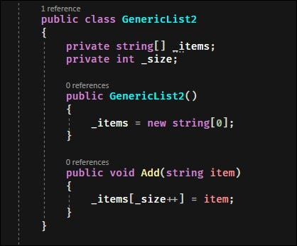 A class that doesn't use any parameters is defined with no brackets.