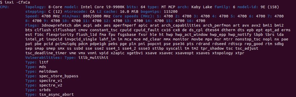 inxi detailed CPU information