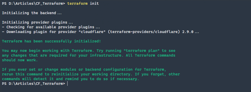 Initializing our configuration installs all vendors listed in the vendor section of our Terraform configuration file.