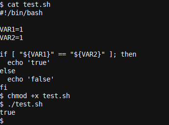 In script as an example with variables and an else clause