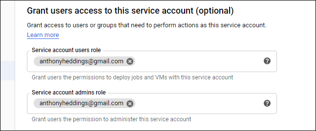 Set administrators for the service account